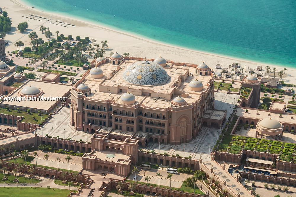 Elevated view of luxury Emirates Palace Hotel in Abu Dhabi, UAE, United Arab Emirates