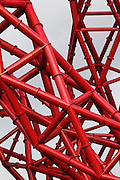Detail from the Orbit, a huge sculpture by Anish Kapoor, at the Olympic Park in Stratford, London