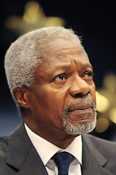 BRUSSELS, BELGIUM - AUGUST-25-2006 - Kofi Annan U.N. Secretary General, speaks during the press conference that followed an extraordinary meeting of European foreign ministers and the United Nations to discuss European military deployment to Lebanon as part of the cease-fire agreement between Israel and Hezbollah, at the European Council headquarters in Brussels. (PHOTO © JOCK FISTICK)