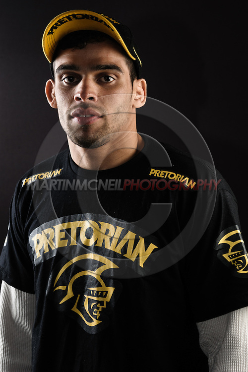 """BIRMINGHAM, ENGLAND, NOVEMBER 3, 2011: Renan Barao poses for a portrait after the press conference for """"UFC 138: Munoz vs. Leben"""" inside the Hilton Hotel in Birmingham, England on November 3, 2011."""