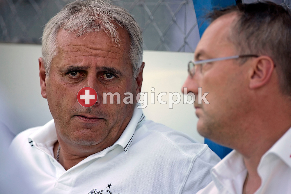FCZ coach Bernard Challandes (L) and FCZ sports director Fredy Bickel (R) are talking during the warm-up for the charity soccer game between Swiss FC Zuerich and Germany's Bayer 04 Leverkusen at the Hardturm stadium in Zurich, Switzerland, Saturday 14 July 2007. The charity game is dedicated to FC Zurich supporter Roland Maag who got badly hurt a year ago by unidentified hooligans  after a FC Zurich game. (Photo by Patrick B. Kraemer / MAGICPBK)