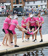 Henley, Great Britain.  Henley Royal Regatta. Abingdon School, winners of the Prince Elizabeth Challenge Cup, celebrate with the traditional ritual, of tossing the Cox in the river. River Thames Henley Reach.  Royal Regatta. River Thames Henley Reach.  Sunday  03/07/2011  [Mandatory Credit  Karon Phillips/ Intersport Images] 2011 Henley Royal Regatta. HOT. Great Britain . HRR