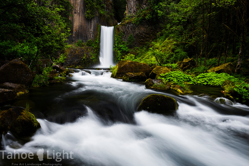 Toketee Falls in Souther Oregon has a spectacular display of basalt rock at its base