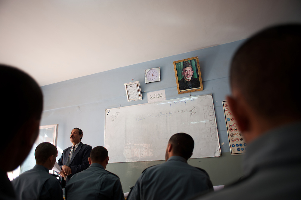 November 14, 2012 - Kabul, Afghanistan: A picture of president Hamid Karzai is seen in the classroom wall of the Afghan Nacional Police Academy...ANP Academy trains 1250 cadets at the time during a period of four years. Every year, five hundred new recruits are selected, out of more than nine thousand of candidates, to join the academy and other five hundred graduate. Fifteen per cent of the recruits are women. (Paulo Nunes dos Santos)