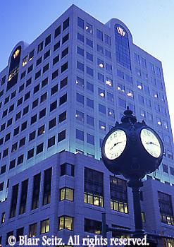 Harrisburg, PA City Center, Market Street Scape, Clock, Bank