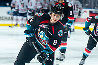 KELOWNA, CANADA - SEPTEMBER 22: Jack Cowell #8 of the Kelowna Rockets warms up against the Kamloops Blazers on September 22, 2018 at Prospera Place in Kelowna, British Columbia, Canada.  (Photo by Marissa Baecker/Shoot the Breeze)  *** Local Caption ***