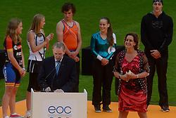 14-07-2013 ALGEMEEN: OPENINGSCEREMONIE EYOF: UTRECHT<br /> Stadion Nieuw Galgenwaard was het decor voor de openingsceremonie van de European Olympic Youth Festival / Rinda den Besten en IOC president Jacques Rogge<br /> ©2013-FotoHoogendoorn.nl