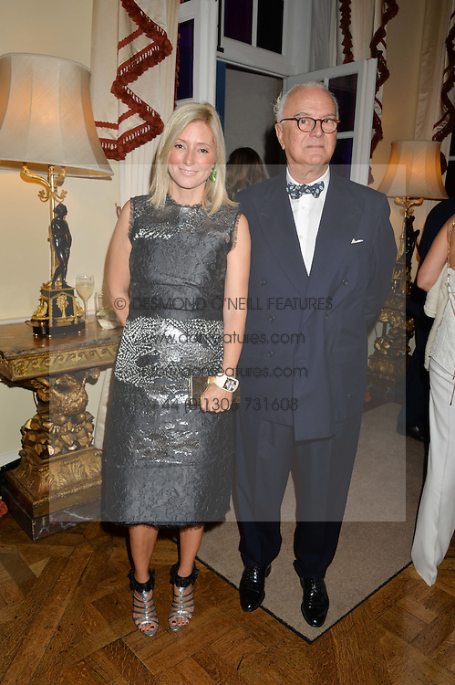 CROWN PRINCESS MARIE-CHANTAL OF GREECE and MANOLO BLAHNIK at a party hosed by the US Ambassador to the UK Matthew Barzun, his wife Brooke Barzun and editor of UK Vogue Alexandra Shulman in association with J Crew to celebrate London Fashion Week held at Winfield House, Regent's Park, London on 16th September 2014.