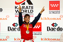 November 10, 2018 - Madrid, Madrid, Spain - Sandra Sanchez of Spain win the gold medal and win the tournament of Female Kata tournament during the Finals of Karate World Championship celebrates in Wizink Center, Madrid, Spain, on November 10th, 2018. (Credit Image: © AFP7 via ZUMA Wire)
