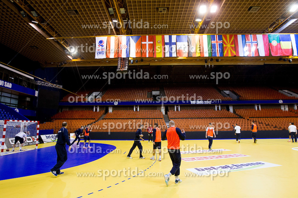 Players during practice session of Slovenia National Handball team during Main Round of 10th EHF European Handball Championship Serbia 2012, on January 21, 2012 in Spens Sports Center, Novi Sad, Serbia. (Photo By Vid Ponikvar / Sportida.com)