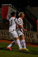 Mark Cullen of Luton Town (right) celebrates scoring his team's first goal to make it 1-1 with Matt Robinson of Luton Town (left) during the Skrill Conference Premier match at the Abbey Stadium, Cambridge<br /> Picture by David Horn/Focus Images Ltd +44 7545 970036<br /> 11/03/2014