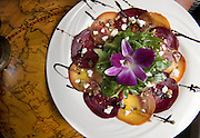 May 24, 2016 Middletown<br /> Bread &amp; Water restaurant. The Roasted Beet Carpaccio with arugula, candied walnuts, honey goat cheese with a vinicotto balsamic.