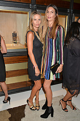 Left to right, sisters JESSICA SIMON and ZARA VALMORBIDA at a party to celebrate the opening of the jeweller Ara Vartanian's Flagship Store 44 Bruton Place, London on 7th September 2016.
