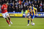 Kyle Vassell of Shrewsbury Town (on loan from Peterborough United) on the attack during the Sky Bet League 1 match between Shrewsbury Town and Coventry City at Greenhous Meadow, Shrewsbury, England on 8 March 2016. Photo by Mike Sheridan.