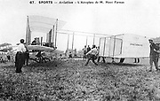 Henri Farman (1874-1958), French aviator and aircraft constructor. Farman's  biplane No 1. From a photograph.