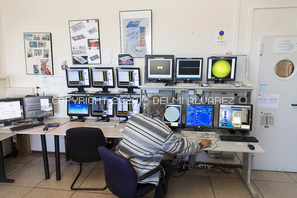 Bernard GELLY director of THEMIS telescope based in the Instituto de Astrofisica de Canarias owned by Center National Research Scientific (CNRS) of France on April 21, 2014.  View of telescopes in the Instituto Astrofisico de Canarias (IAC) in Tenerife, Canary Islands, Spain on April 21, 2014. is situated 2.390 metres above sea level in Izaña, an area of Tenerife that lies across three municipal districts - La Orotava, Fasnia and Güímar. The first telescope for studying zodiacal light, light dispersed by interplanetary material, entered service here in 1964. Its geographical location (between the eastern and western solar observatories), together with the clarity and excellent quality of the sky, mean that the Observatorio del Teide is ideally suited for studying the sun. For this reason it is home to Europe's finest solar telescopes. The Observatorio del Teide Residence, which has been in operation since January 1990,  is a suite of facilities (including day and night-time dormitories, a kitchen and dining room, reception, living and games rooms, garages, a transformer station, power generator and solar panel park), which is available for use by scientific and technical staff linked to the Observatory.
