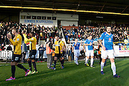 Southport players (left) and Eastleigh players (right) take the field pictured ahead of the The FA Cup match at Haig Avenue, Southport<br /> Picture by Ian Wadkins/Focus Images Ltd +44 7877 568959<br /> 07/12/2014