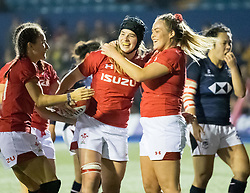 Bethan Lewis of Wales Women celebrates scoring her sides third try<br /> <br /> Photographer Simon King/Replay Images<br /> <br /> Friendly - Wales Women v Hong Kong Women - Friday  16th November 2018 - Cardiff Arms Park - Cardiff<br /> <br /> World Copyright © Replay Images . All rights reserved. info@replayimages.co.uk - http://replayimages.co.uk