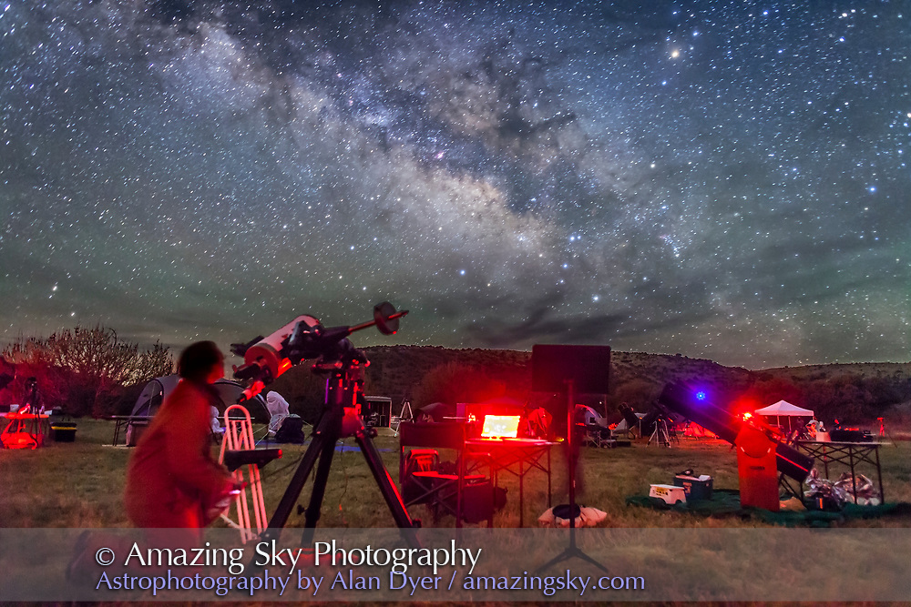An observer at the Texas Star Party aims his telescope at a target in the Milky Way. Sagittarius and Scorpius toward the galactic centre are to the southeast here, as they rise late on a spring night. This is a single untracked exposure of 45 seconds at f/2.2 with the 24mm lens at Canon 5D MkII at ISO 4000.
