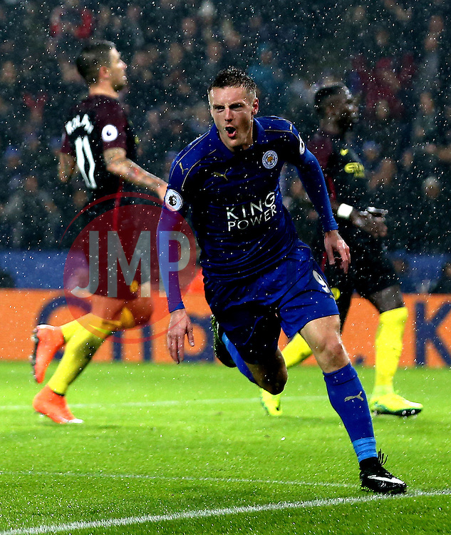 Jamie Vardy of Leicester City celebrates scoring a goal to make it 3-0 - Mandatory by-line: Robbie Stephenson/JMP - 10/12/2016 - FOOTBALL - King Power Stadium - Leicester, England - Leicester City v Manchester City - Premier League