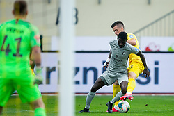 Bagnack Mouegni Macky of Olimpija vs Arnel Jakupovic of Domzale during football match between NK Domzale and NK Olimpija in 29th Round of Prva liga Telekom Slovenije 2019/20, on June 21, 2020 in Sports park, Domzale, Slovenia. Photo by Vid Ponikvar / Sportida