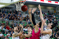 Isaiah Philmore of Telekom Baskets Bonn and Sava Lesic of Union Olimpija during basketball match between KK Union Olimpija Ljubljana and Telekom Baskets Bonn (GER) in Round 3 of EuroCup 2015/16, on October 28, 2015 in Arena Stozice, Ljubljana, Slovenia. Photo by Matic Klansek Velej / Sportida.com