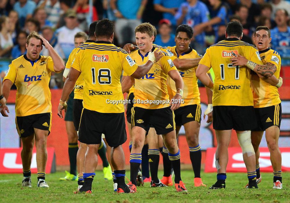 The Hurricanes celebrate their win during the 2015 Super Rugby rugby match between the Bulls and the Hurricanes at Loftus Versfeld in Pretoria, South Africa on February 20, 2015 ©/BackpagePix