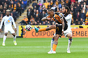 Hull City striker Abel Hernandez (9) and Jason Denayer (4) Sunderland AFC defender during the Premier League match between Hull City and Sunderland at the KCOM Stadium, Kingston upon Hull, England on 6 May 2017. Photo by Ian Lyall.
