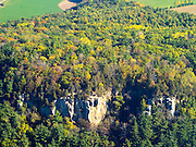 Aerial view of Gibraltar Rock State Natural Area, Columbia County, Wisconsin, near Lodi.