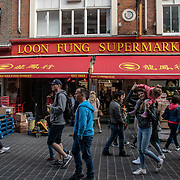 Loon Fung Supermarket in London Chinatown Sweet Tooth Cafe and Restaurant at Newport Court and Garret Street on 15 June 2019, UK.