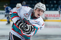 KELOWNA, CANADA - JANUARY 2: Jonathan Smart #6 of Kelowna Rockets warms up against the Victoria Royals on January 2, 2016 at Prospera Place in Kelowna, British Columbia, Canada.  (Photo by Marissa Baecker/Shoot the Breeze)  *** Local Caption *** Jonathan Smart;