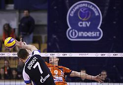 Alexey Bovduy vs Matija Plesko at 8th final volleyball match of CEV Indesit Champions League Men 2008/2009 between ACH Volley Bled (SLO) and Zenit Kazan (RUS), on February 12, 2009 in Hall Tivoli, Ljubljana, Slovenia. (Photo by Vid Ponikvar / Sportida)