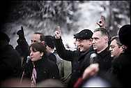 """Thousands of opposition protesters have gathered in Tbilisi, Georgia on 06 January, 2008, alleging vote-rigging. Opposition leader Levan Gachechiladze (pictured, with hat)- the most prominent of the five other presidential candidates told the crowd in Tbilisi: """"We face terror and will defend our vote by legal means."""" Early results suggest President Mikhail Saakashvili won, but it is unclear if he did well enough to avoid a run-off. But opposition leader Levan Gachechiladze said the exit polls had been """"falsified"""". They suggested President Saakashvili won more than 53% of the vote and Mr Gachechiladze 28%."""
