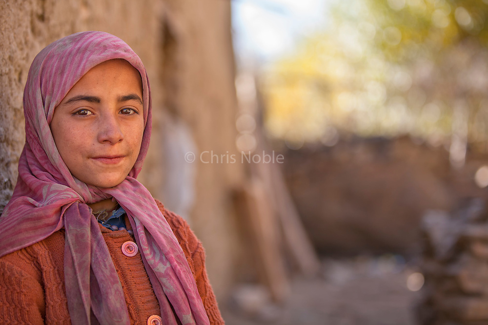 Portrait of a young Muslim girl in the Suru Valley, Kargil District, Ladakh.