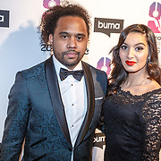NLD/Hilversum/20160215 - Buma Awards 2016, Debrah Jade (R) en Memru Renjaan
