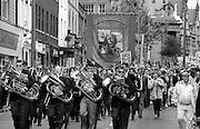 Sharlston Branch banner. 1993 Yorkshire Miner's Gala. Wakefield.
