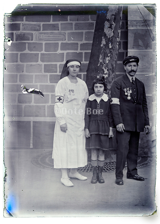 decorated red cross medical employers with young girl