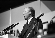 Fianna Fáil Ard Fheis.  (R97)..1989..25.02.1989..02.25.1989..25th February 1989..The Fianna Fáil Ard Fheis was held today at the RDS Main Hall, Ballsbridge, Dublin. An Taoiseach, Charles Haughey TD,gave the keynote speech of the event...An Taoiseach, Charles Haughey TD, is pictured delivering his keynote address to the assembled Fianna Fáil delegates at the Ard Fheis In the RDS, Dublin.