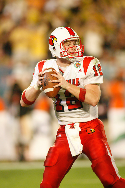 University of Louisville quarterback Brian Brohm drops back to pass during the Louisville Cardinals 24-13 victory over the Wake Forest Demon Deacons at the 2007 Orange Bowl Game on January 2, 2007 at the Dolphin Stadium in Miami, Florida.