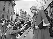 "St Patrick's Day Parade.1982.17/03/1982.03.17.1982.Image of ""Bottler"" aka Brendan Grace gatecrashing the parade."