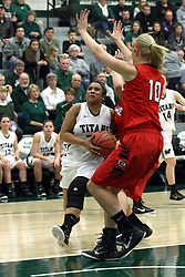 10 January 2015:  Gabrielle Holness during an NCAA women's division 3 CCIW basketball game between the Carthage Reds and the Illinois Wesleyan Titans in Shirk Center, Bloomington IL