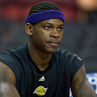 18 April 2007: Smush Parker of the Lakers is seen prior to the Los Angeles Lakers 117-106 victory over the Sacramento Kings at the Arco Arena in Sacramento, CA.
