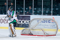 Matija Pintaric (HDD Tilia Olimpija, #69) and net knocked down because of his shutout during ice-hockey match between HDD Tilia Olimpija and EHC Liwest Black Wings Linz in 37th Round of EBEL league, on Januar 9, 2011 at Hala Tivoli, Ljubljana, Slovenia. (Photo By Matic Klansek Velej / Sportida.com)
