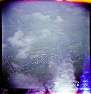 Outdated film picture of an aerial view of Hanoi's outskirts, Vietnam, Southeast Asia