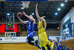 Parker Jacobs Samuel of KK Tajfun Sentjur and Pavic Smiljan of KK Sencur GGD during basketball match between KK Sencur  GGD and KK Tajfun Sentjur for Spar cup 2016, on 16th of February , 2016 in Sencur, Sencur Sports hall, Slovenia. Photo by Grega Valancic / Sportida.com