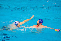 Petar Muslim of Primorje vs Blai Guel Mallarach of Olympiacos during water polo match between Primorje Erste Bank (CRO) and Olympiacos Piraeus (GRE) in 8th Round of Champions League 2016, on April 16, 2016 in Kantrida pool, Rijeka, Croatia. Photo by Vid Ponikvar / Sportida
