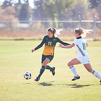 4th year forward, Kirsten Finley (11) of the Regina Cougars during the Women's Soccer away game on Sat Oct 06 at Universtity of Saskatchewan . Credit: Arthur Ward/Arthur Images