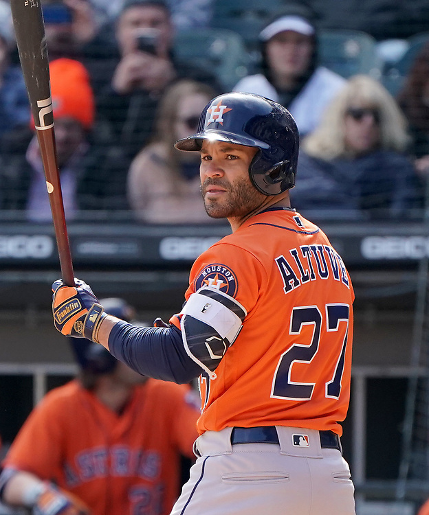 CHICAGO - APRIL 22:  Jose Altuve #7 of the Houston Astros looks on while batting against the Chicago White Sox on April 22, 2018 at Guaranteed Rate Field in Chicago, Illinois.  (Photo by Ron Vesely)   Subject:   Jose Altuve