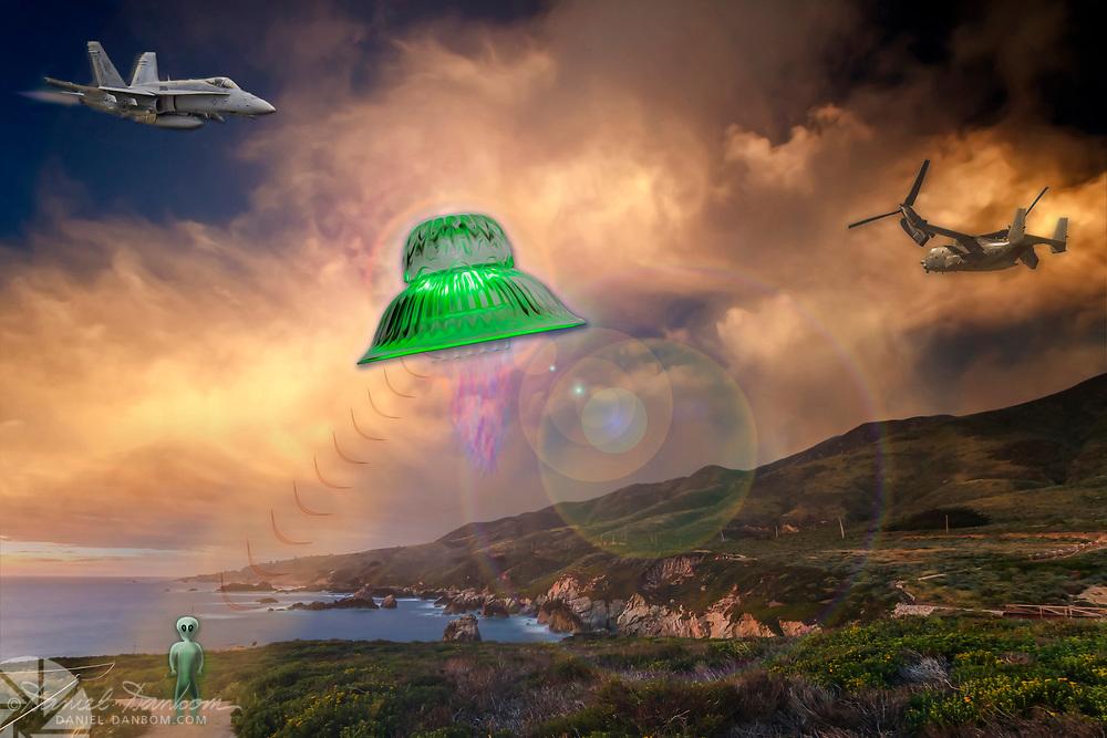 Humorous composite image of a UFO, alien, jet, osprey 22, along the Big Sur, Coast, Califonia
