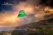 Humorous composite image of a UFO, alien, jet, osprey 22, along the Big Sur, Coast, Califonia